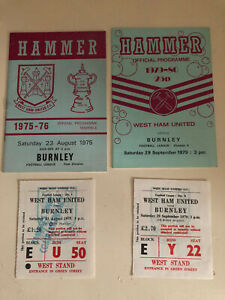 West Ham V Butnley 1975-76 & 1979-80 With Tickets