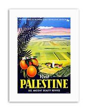 VISIT PALESTINE JERUSALEM ORANGE ISRAEL Vintage Travel Canvas art Prints