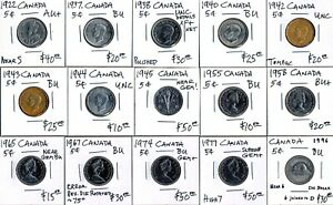 15 CANADA 5¢ (1922-1996) CV $475 USD > FAIRLY GRADED > SEE PICS > NO RESERVE