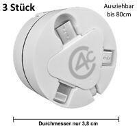 3x Multi 3in1 Ladekabel ausziehbar Typ-C Lightning Micro-USB, iPhone Samsung LG