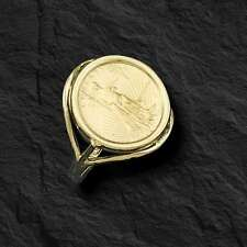 22K FINE GOLD 1/10 OZ US LADY LIBERTY COIN in 14k gold Ring