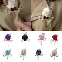 Pearl Rose Flower Lapel Pin Wedding Boutonniere Stick Brooch for Men Women Suit
