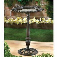 Cast Iron Distressed Leaf Free Stand Bird Bath Yard Vintage Feeder Garden Decor