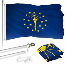 G128 6ft Aluminum Flagpole (Silver) & Indiana Flag Embroidered 3x5ft