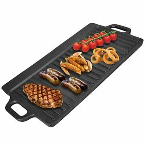 Non-Stick Coating Cast Iron Reversible Griddle Pan Electric Gas Hobs