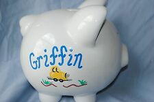 "Personalized ""GRIFFIN"" Piggy Bank hand painted cars trucks white 8""x7"" design"