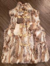 Mitchie's Patchwork Rabbit Fur Toggle Vest M