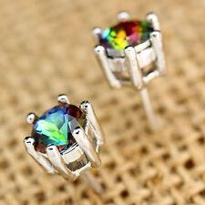 Women Silver Jewelry Clear Round Rainbow Topaz Gemstone Ear Studs Earrings