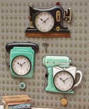 Retro Metal Pendulum Wall Clocks Vintage Sewing Machine Telephone or Mixer