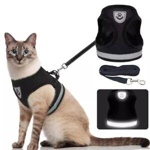 Cat Harness Pet Adjustable Reflective Vest Walking Lead Polyester Mesh Running