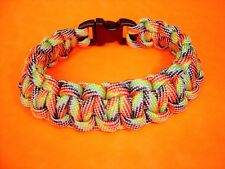 "550 ParaCord Survival Cobra Braided Bracelet - Dark Stripes Fits a 7 1/2"" Wrist"
