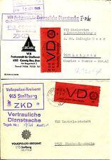 Servizio DDR 1965 vd1c,1i, vd2, zu1 su lettera tadelos € 1150 (z7105b