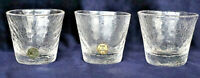 3 Vintage Retro Crackle Glass Made in Sweden Schnapps Liquer Glasses