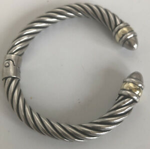 MILOR 925 STERLING SILVER CABLE CUFF HINGED BRACELET W/Vermeil Accents 24.9g