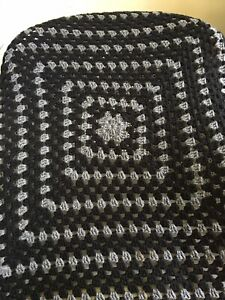 "Crochet Afghan Blanket Sofa Throw Vintage Grey Black Geometric 72"" X 47"""