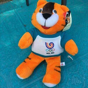 """1988 Seoul Olympics TIGER MASCOT Hodori 14"""" NWT plush toy animal Joyful doll"""