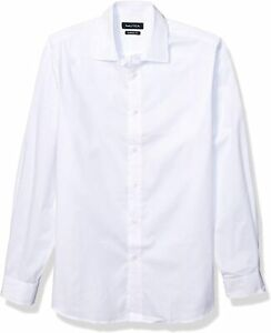 Nautica Mens Shirt Pure White Size 17 Solid Performance Classic Fit $65- 001