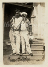 Vintage Male Sports - Vernacular Image of Boys Outside on Steps with Bats
