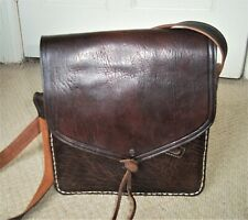 STUNNING VINTAGE BROWN THICK MOROCCAN LEATHER SHOULDER BAG/MESSENGER - UNISEX