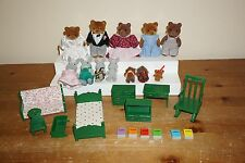 Calico Critters Sylvanian Epoch Vintage Bears Rabbit Family Green Furniture Lot