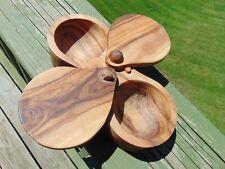 Berard Wood Olivewood Double Condiment Bowls & Attached Lids Salt Spice Holder