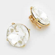"""1"""" gold round crystal large clip on earrings non pierced prom bridal"""