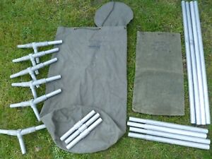 british army 9x9 MK3 tent parts set of angles, extensions, poles, bags ect, used