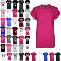 Ladies Printed Turn Up Cap Sleeve Tshirt Womens Round Neck Tee Top T Shirt