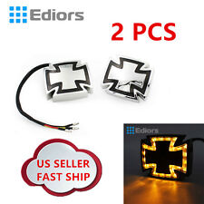 2 x Motorcycle Smoke Maltese Cross LED Marker Turn Signal Brake Light for Honda