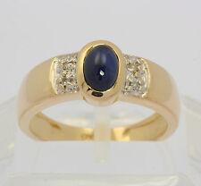 Saphir Ring in aus 14 kt 585 Gelb Gold mit Diamant Safir Saphirring Diamantring