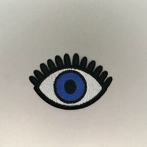 Dark Blue Evil Eye Patch — Iron On Badge Embroidered Motif — Cute Fun Bright