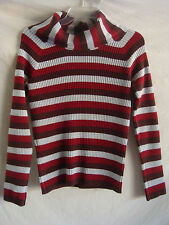 AUTH J. CREW TURTLE NECK RIBBED KNIT SWEATER RED BROWN & GRAY PREOWNED SZ M