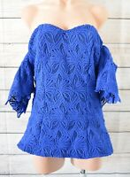 Mossman Top Off Shoulder Tunic Blouse Size 14 Blue Black Broderie Anglaise Lace