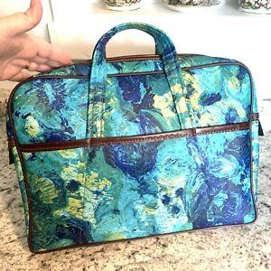 BRIEFCASE VTG Suitcase Luggage MCM 60s Blue Green Brush Bag Case Laptop