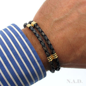 Genuine Leather Multi-layer Cuff Bracelet in Blue Modern Mens Jewelry Mens Gift