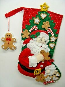 "Santa By Tree With Gingerbread Men 16"" Christmas Stocking FINISHED!"