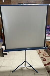"""Vintage Da-Lite Silver Flyer Movie Projection Screen With Stand Approx 40""""x40"""""""