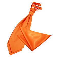 DQT Satin Plain Burnt Orange Wedding Pre-Tied Mens Cravat & Hanky Set