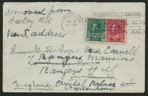 Canada WWI Admiral Era Cover to UK w/ 1915 CNE Slogan Cancel - REDIRECTED - ph11