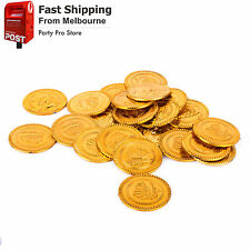 30x Plastic Gold Coins Pirate Treasure Boys Party Favours Decorations Treat Bag
