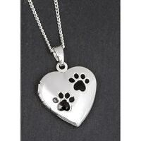 Equilibrium Silver Plated Necklace Paw Heart Locket Pendant Childs Keepsake Gift