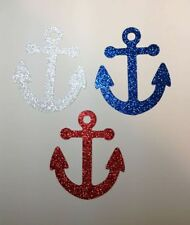 "Nautical Anchors Blue Red Silver Glitter Set 12 Die Cuts Party Decoration 3.5"" H"