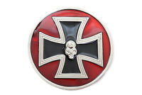 Men Biker Trucker Belt Buckle Silver Metal Red Iron Cross Skeleton Skull Bold
