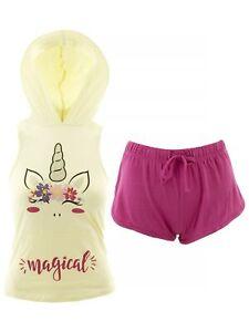 dELiA*s Juniors Ivory Berry Magical Unicorn Sleeveless Hooded Short Pajamas L
