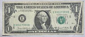1969 D $1 Federal Reserve Note **Error** Gutter Fold
