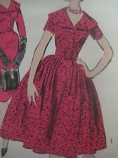 Vintage Advance 9202 Wide Cape Collar Shirtwaist Dress Sewing Pattern Women Sz16