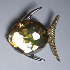 Genuine Swarovski Golden Shadow Crystal Lydia Fish Pin Swan Logo