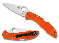 Spyderco Orange Delica 4 Flat Ground Plain Edge Knife - C11FPOR
