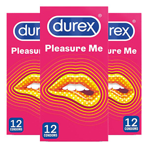 36 x Durex Pleasure Me Ribbed & Dotted Latex Condoms, 3 x 12 pack