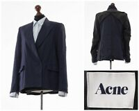 Women's ACNE Kimono Blazer Coat Jacket Linen Viscose Navy Blue Size 4 S
